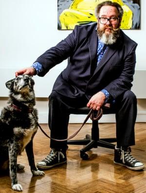 Myles Jackman with his dog, Pan.