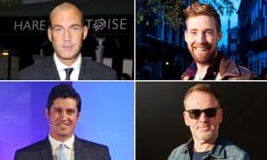 X men: Johnny Vaughan, Ricky Wilson, Chris Moyles, and Vernon Kay.