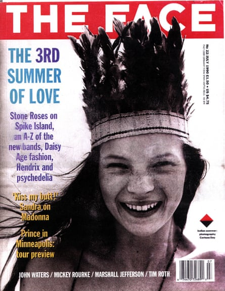 The front cover of The Face magazine with Kate Moss at the age of 14, from 1990.