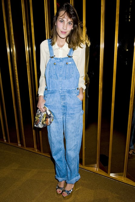 Long derided as one of the never-to-be-repeated excesses of the E generation, dungarees are back with a vengeance, as seen on Alexa Chung.