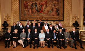 Queen Elizabeth II (C) poses for group photo with assorted global monarchs before her Sovereign Monarch's Jubilee lunch, in the Grand reception room at Windsor Castle in 2012.