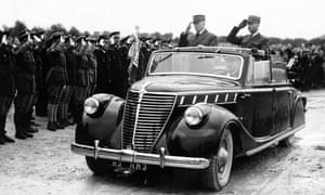 Marshal Petain (on the left) during an inspection at Segry camp near Chateauroux, in Vichy, France, 1942.