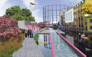 """<strong>The LidoLine </strong>For design practice <a href=""""http://www.ynstudio.eu/"""">Y/N Studio</a>, eight miles of walkable, cycleable and scootable towpath along the Regent's Canal wasn't enough. Instead, they propose to transform the waterway from Little Venice to the Limehouse Basin into a swimmable route, by installing a clean and filtered lane that enables commuters to paddle alongside boats, rats and floating rubbish on their way into work"""