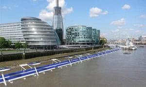 """<strong>Thames Deckway </strong>Another ambitious project that seeks to banish bikes from the city's main roads could see cyclists cruising along the Thames on a seven mile floating path, connecting Battersea to Canary Wharf. Running somewhat parallel to the soon-to-open '<a href=""""http://www.theguardian.com/environment/bike-blog/2015/jan/28/londons-cycling-superhighway-may-inspire-similar-schemes-across-the-uk"""">Crossrail for bikes</a>', the Deckway could cost as much as £600 million to build (almost £500 million more than the new <a href=""""https://tfl.gov.uk/info-for/media/press-releases/2015/february/final-plans-for-mayor-s-crossrail-for-bikes-approved"""">cycleway</a>), and <a href=""""http://www.thamesdeckway.co.uk/"""">the founders</a> have announced the launch of a crowdfunding campaign to get their optimistic plans off the ground and onto the river"""