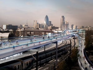 """<strong>SkyCycle </strong>From the creators of the Millennium Bridge, City Hall and Heathrow Terminal 2, <a href=""""http://fosterandpartners.com"""">Foster + Partners</a> bring you the SkyCycle, a network of over 220km of bike lanes suspended above the capital's railway lines. Accommodating up to 12,000 riders per hour, the idea was backed by Network Rail and Transport for London. However, critics were worried that the proposals would divert attention and valuable resources away from more sensible solutions."""