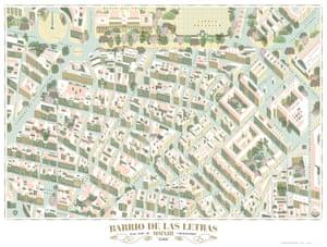 Map of the Barrio de las Letras, Madrid, by cartoonist and illustrator Andrés Lozano