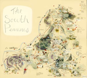 Map of the south Pennines by Angela Smyth