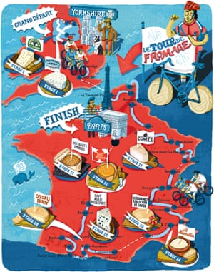 Hand drawn map of Le Tour de Fromage by Elly Walton