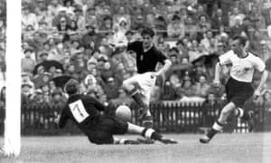 Hungary's Sandor Kocsis, here in the centre of the action against West Germany in the 1954 World Cup final, scored an astonishing 75 goals in 68 internationals.