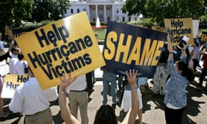 MoveOn PAC members and supporters march in protest of the Bush Administration's handling of the Hurricane Katrina disaster relief in front of the White House September 8, 2005 in Washington,
