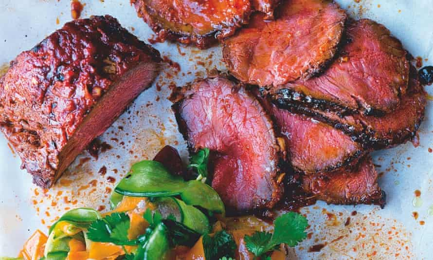 Yotam Ottolenghi's roast beef sirloin with cucumber kimchi and fresh plum