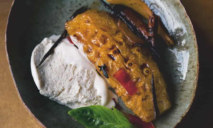 Yotam Ottolenghi's roast pineapple with tamarind and chilli, and coconut ice-cream