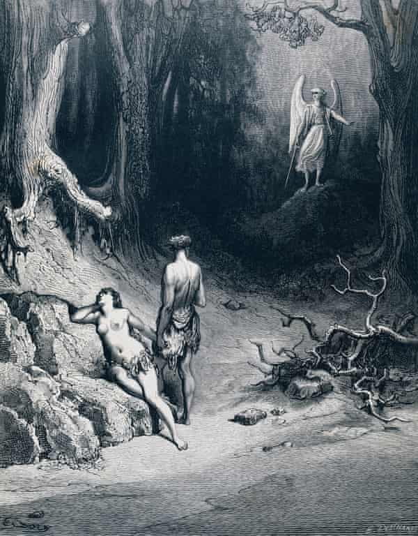 Engraving by Gustave Doré, depicting Adam, Eve and the Archangel Michael in 'Paradise Lost' .