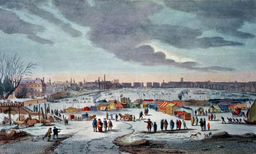 Frost fair on the River Thames in 1683-84, engraved by James Stow.