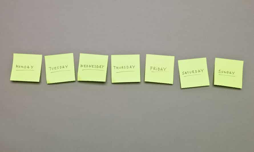 Post-its with Monday to Sunday written on them