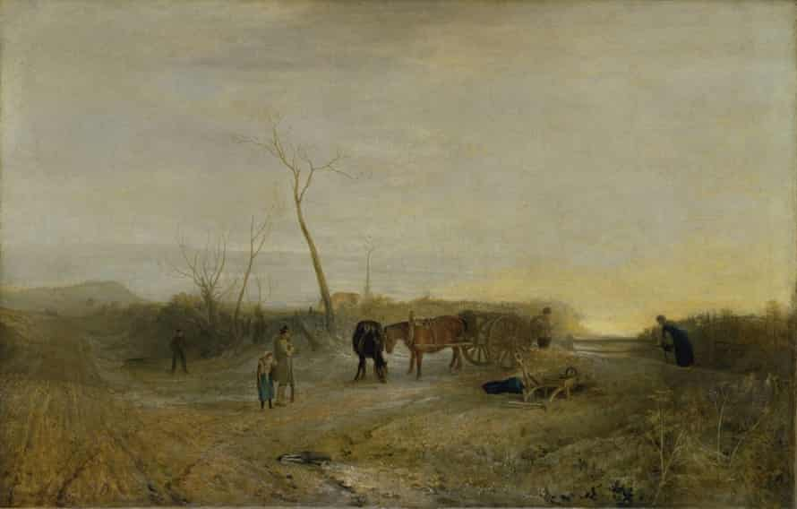 Turner's 'Frosty Morning' is said to include his eldest daughter, Evelina (in blue), and his horse (pulling the cart).