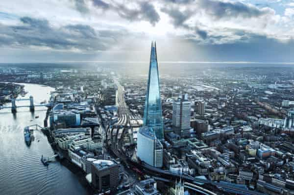 Aerial view of the Shard, London.