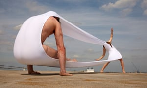 Dancers test the limits of Hussein Chalayan's fabric creations for Gravity Fatigue.