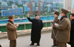 Kim Jong-un inspects the construction of Mirae Scientists Street in February.