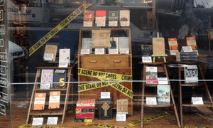 Auckland's Time Out Bookstore's banned books display