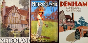 Composite Metro-landMetro-Land magazine cover from the 1930s, poster from 1914,  and poster by Frank Newbould