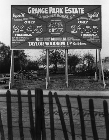 A 1930s sign advertising the building of the Grange Park Estate in Uxbridge by builders Taylor Woodrow.