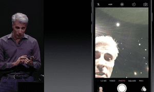 3D Touch being used to preview a selfie.