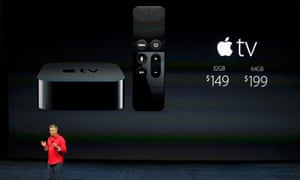 Eddie Cue, Apple's senior vice president of Internet Software and Services, discusses Apple TV pricing during an Apple media event in San Francisco, California, September 9, 2015.