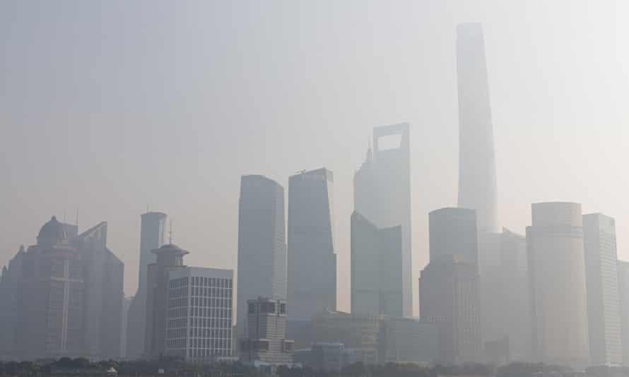 Heavy smog in the Lujiazui financial district of Shanghai.