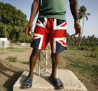 Man wearing Union Jack shorts, Sierra Leone