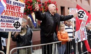 Supporters protest as Nick Griffin appears in Leeds Crown Court in 2005
