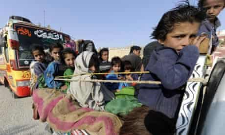 A family from South Waziristan flee the battle zone