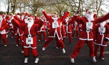 Santas in Battersea Park