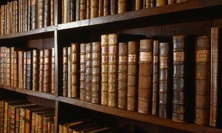 Old books on shelves