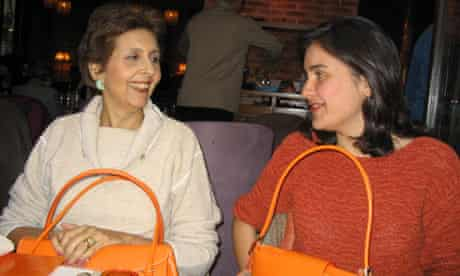 Kamila Shamsie (right) with her mother, Muneeza