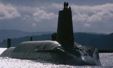 A Royal Navy Trident nuclear submarine.