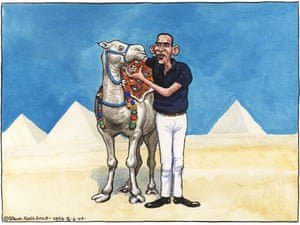Steve Bell 05.06.09: Barack Obama woos Muslim world with call for a new understanding