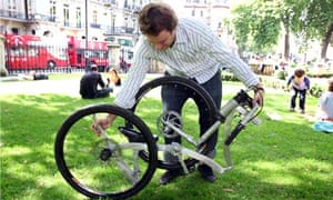 Dominic Hargreaves and his folding bike