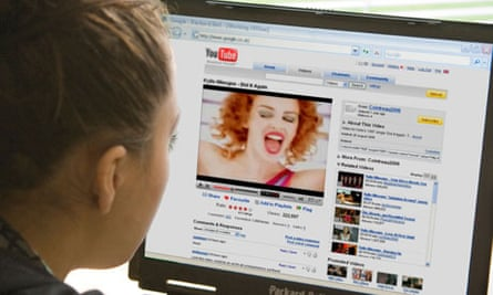 Teenage girl watching YouTube