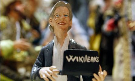 A figurine of Julian Assange