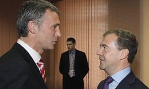 Jens Stoltenberg and Dmitry Medvedev