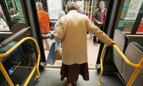 Woman gets off bus
