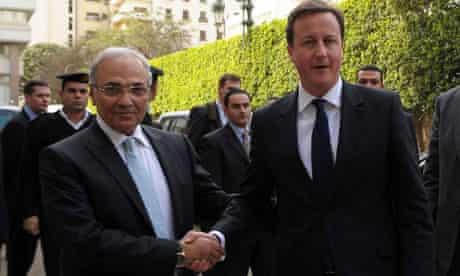 David Cameron and Egypt's Ahmed Shafik