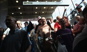 EDL supporters at King's Cross tube