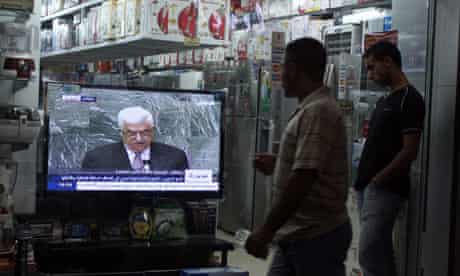 Mahmoud Abbas on TV in Ramallah