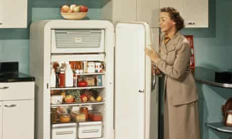 A woman with a refrigerator