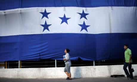 A giant Honduran flag in Tegucigalpa