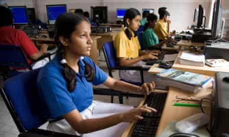Students in a computer class in India