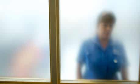 Nurse through frosted glass