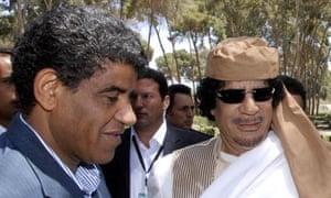 Abdullah al-Senussi and Muammar Gaddafi